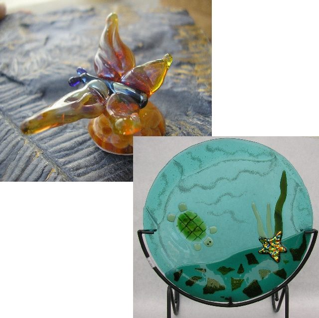 Flame worked butterfly/fused turtle plate