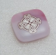 Pink Celtic Cross Glass Cab