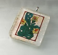 Hand painted glass flower pendant